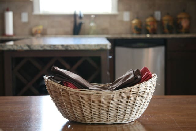 Basket of napkins kept handy make the transition to a paperless home easy.