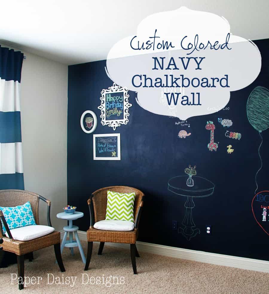 true blue navy chalkboard wall deeplysouthernhome. Black Bedroom Furniture Sets. Home Design Ideas