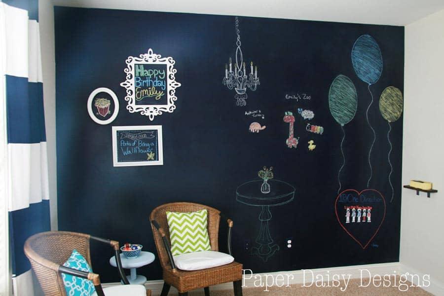 true blue navy chalkboard wall deeplysouthernhome