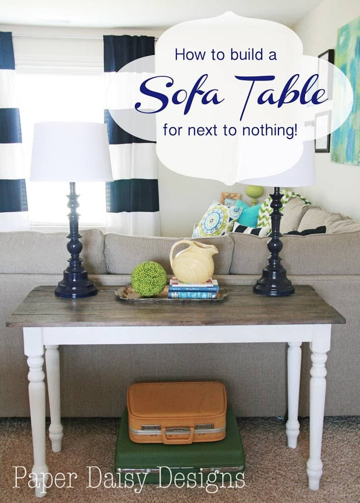 Build a rustic sofa table make new wood look old for Email table design