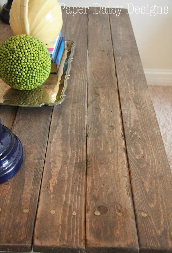 DIY Reclaimed Wood table/Paper Daisy Design.com - Build A Rustic Sofa Table & Make New Wood Look Old -
