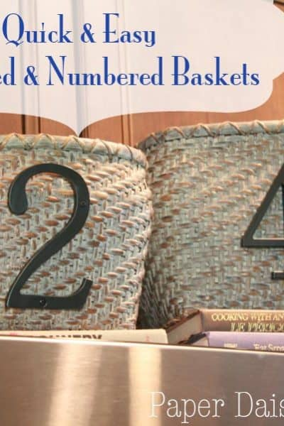 Numbered Baskets: Quickie makeover