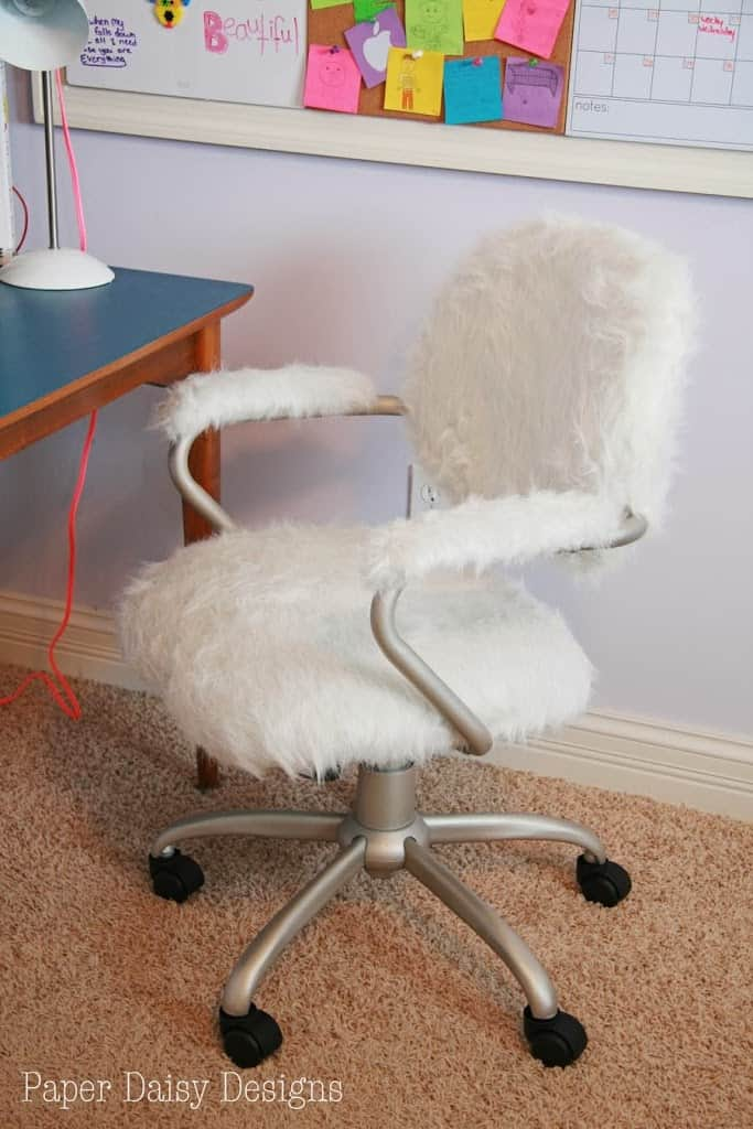 Then Our Super Cool Teenager Had A Hip New Furry Chair To Go With Her Mid Century Modern Desk