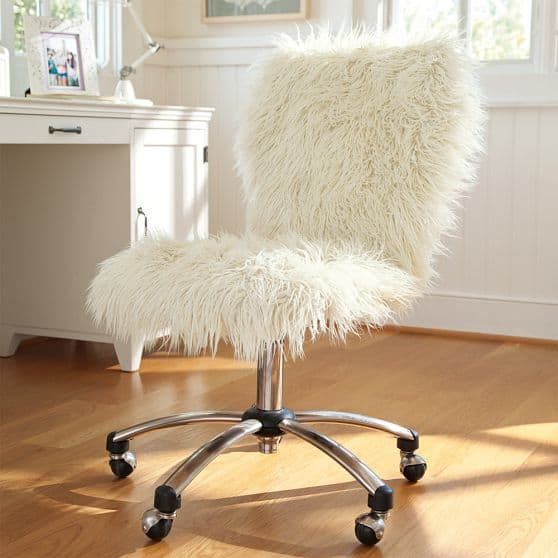 furry desk chair: pottery barn hack -