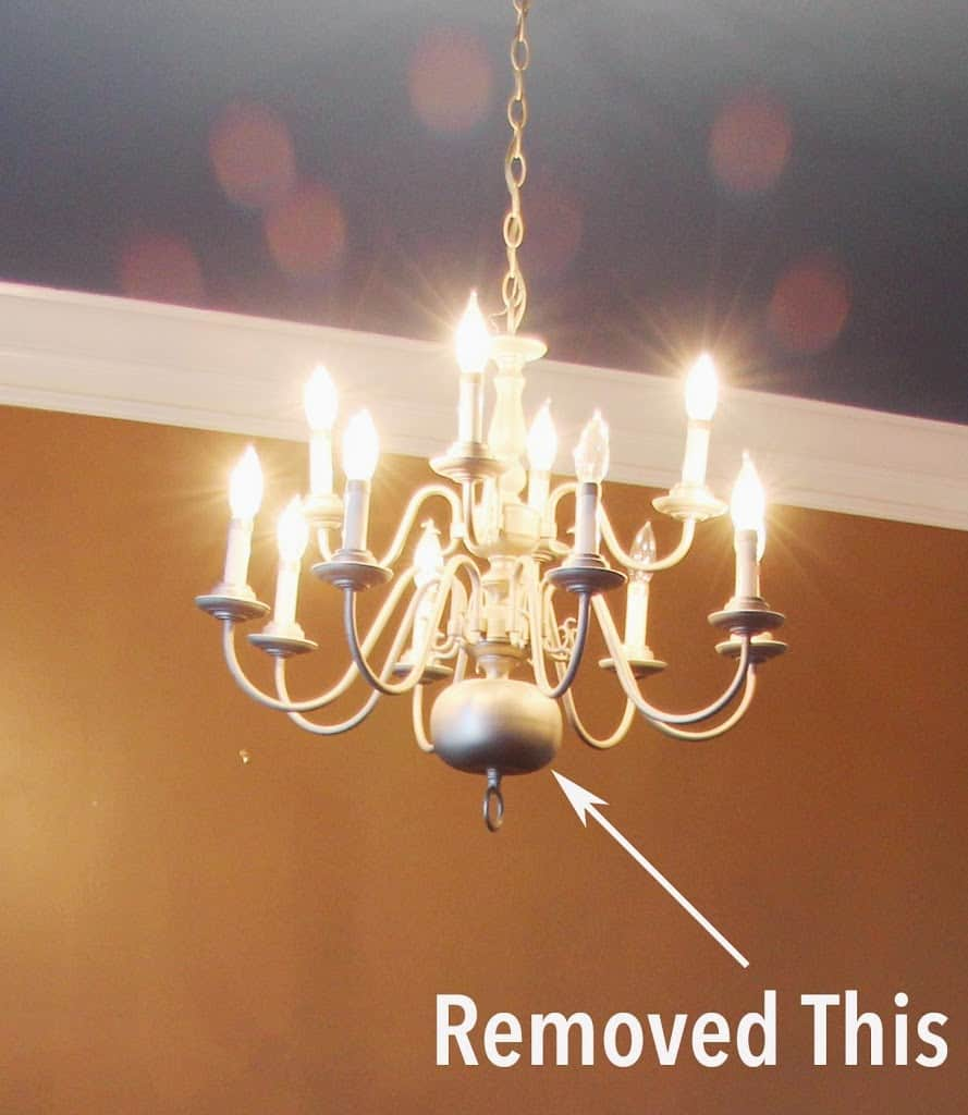 Chandelier makeover in minutes deeplysouthernhome my main beef with the fixture had to do with the large ball at the bottom it looks like every other very tired and dated brass fixture you see all over aloadofball Image collections