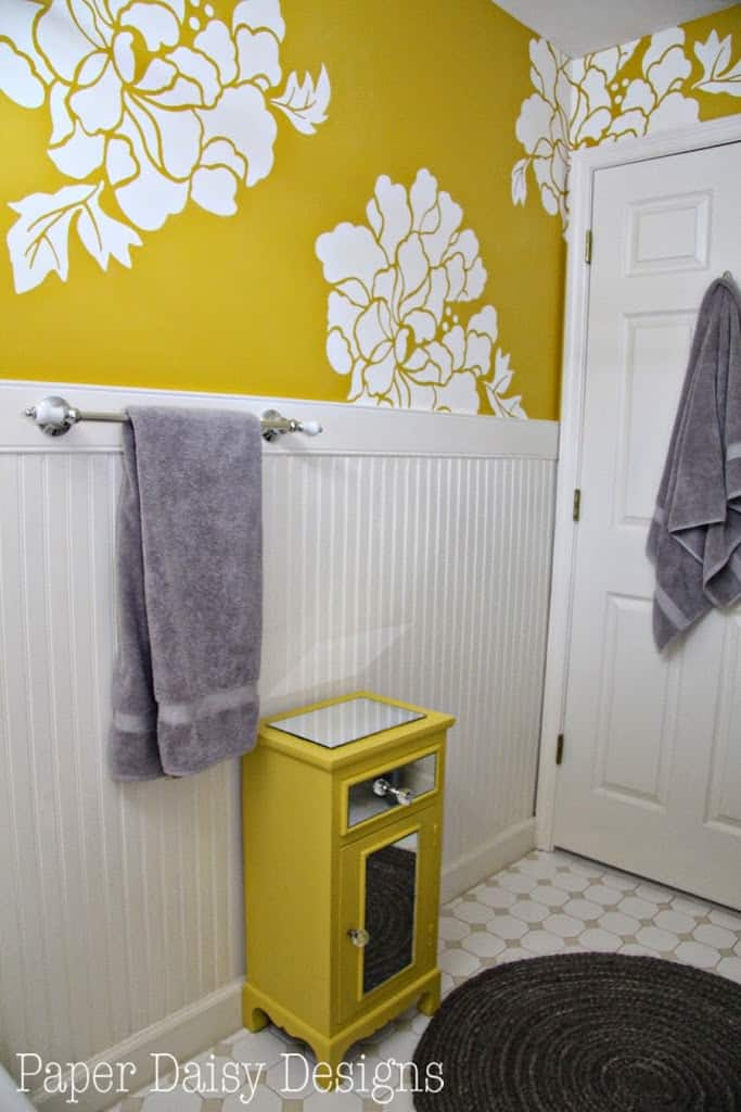 The one roll transformation for Bright bathroom wallpaper