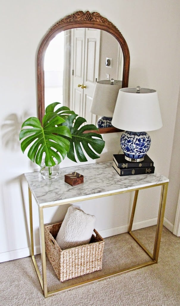 take two desk to console table deeplysouthernhome. Black Bedroom Furniture Sets. Home Design Ideas