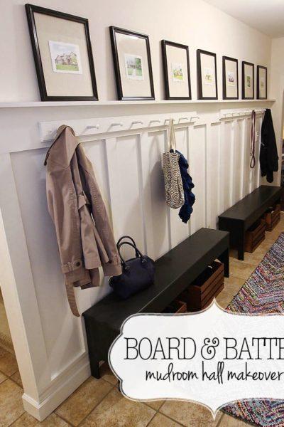 Easy Board and Batten Mudroom Hallway Makeover