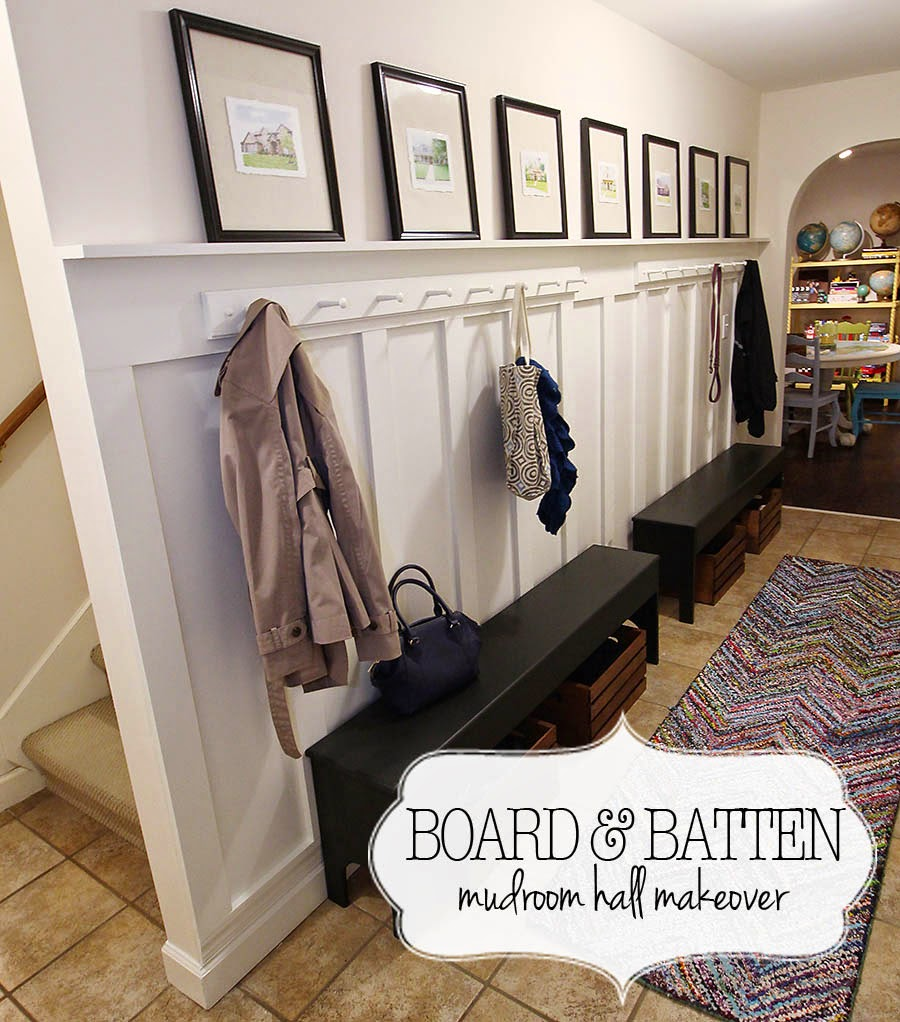 Easy Board and Batten Mudroom Hallway Makeover