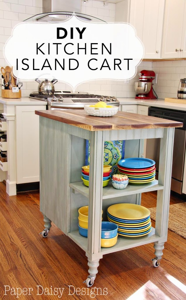 Diy kitchen island cart for Making a kitchen island from cabinets