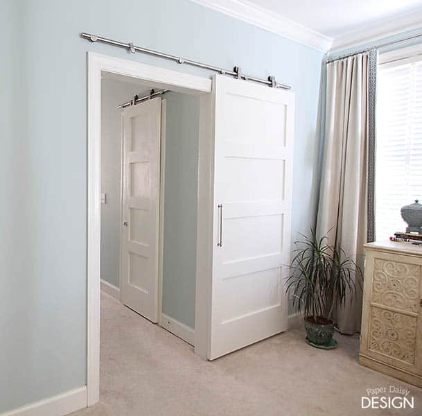 modern barn doors an easy solution to awkward entries. Black Bedroom Furniture Sets. Home Design Ideas
