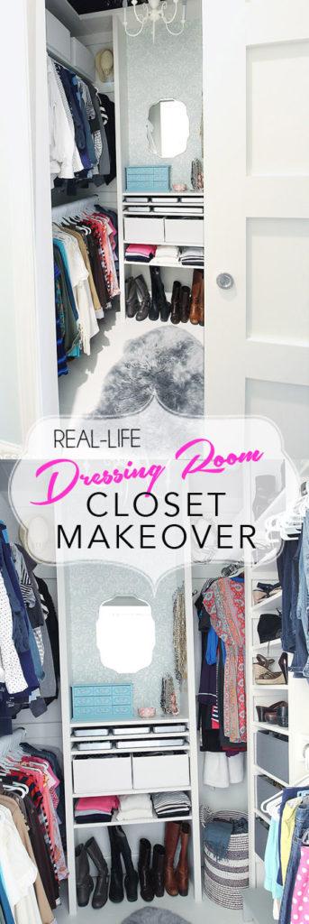 Real life closet makeover. Create a glamorous closet dressing room from any small closet. DIY