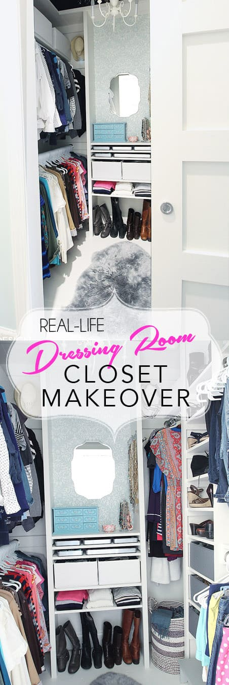 Real Life Closet Makeover. Create A Glamorous Closet Dressing Room From Any  Small Closet. Diyclosetmakeover
