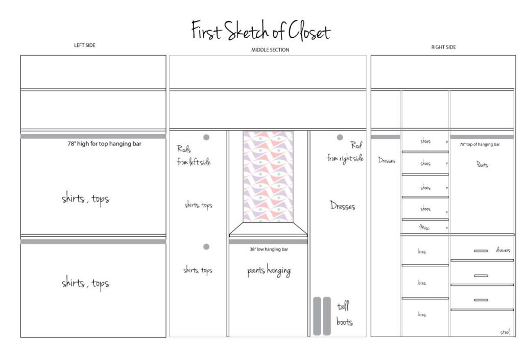 Sketch of custom closet layout
