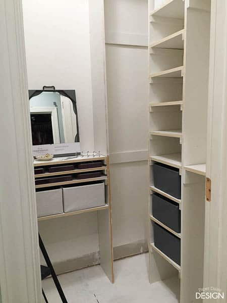 shoe shelves in diy custom closet