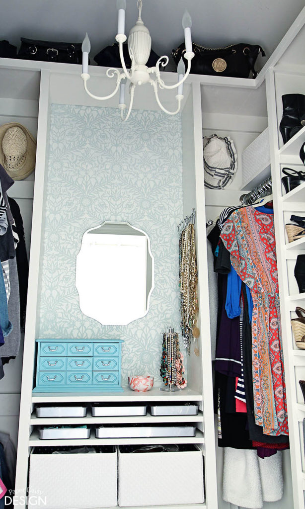 small dressing area in closet