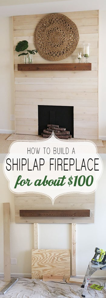how to build a shiplap fireplace/PaperDaisyDesign.com