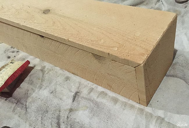 Faux shiplap fireplace with real heart for How to build a box beam