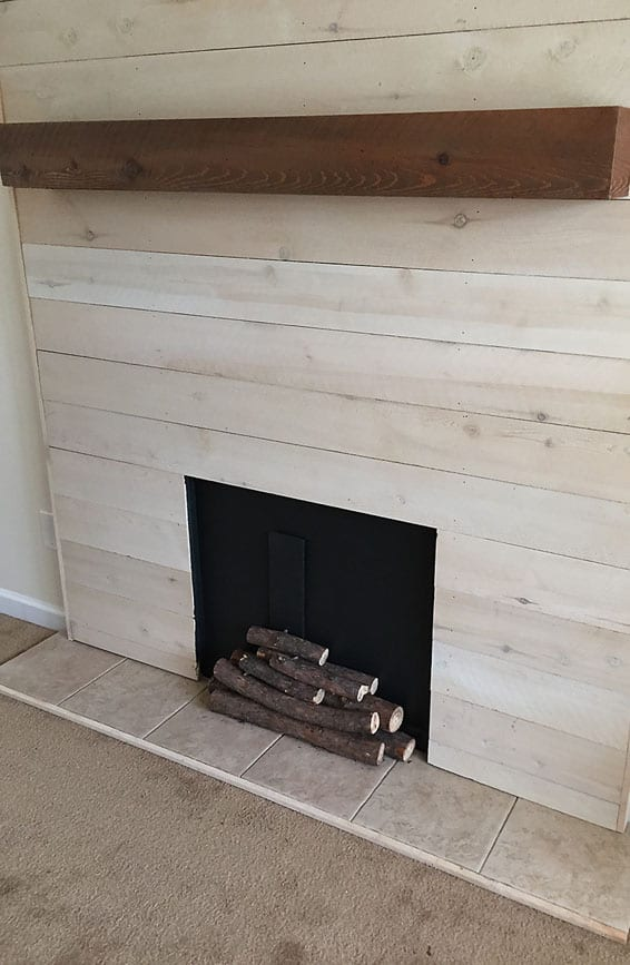 Fireplace Design fireplace caulk : Faux Shiplap Fireplace with Real Heart -