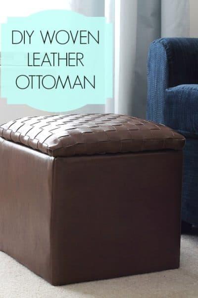 Woven Leather Ottoman