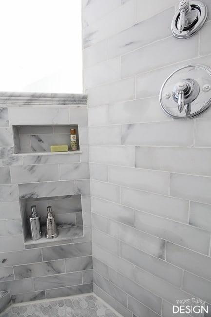 Marble Shower Niche/PaperDaisyDesign.com