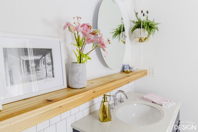 Seamless floating shelf wall/Cedar shelf in bathroom/Paper Daisy Design.com
