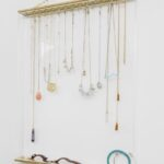 Jewelry Organizer, Stylish Acrylic & Gold Framed Necklaces
