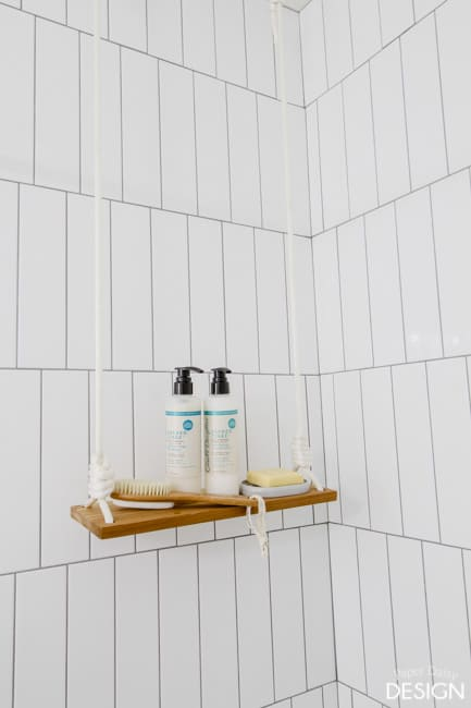 tall swing Shelf in Shower/paperdaisydesign.com