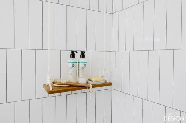 swing shelf in shower