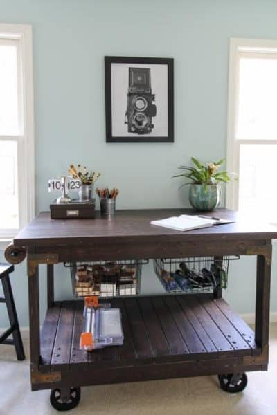 DIY Craft Table: Vintage Industrial Cart Inspired Craft Table