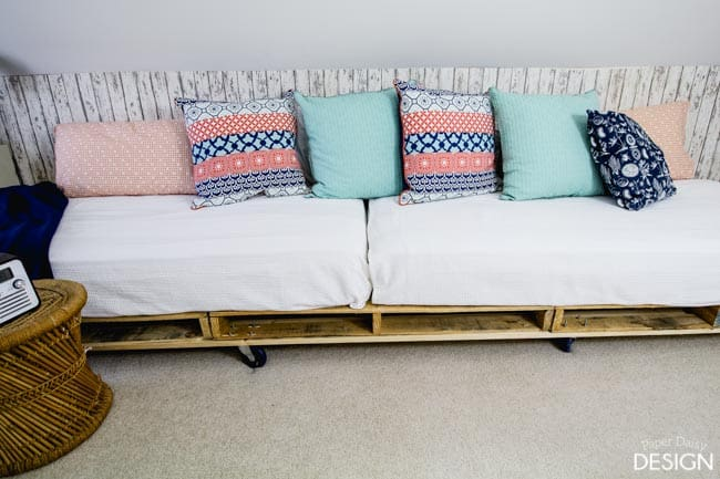 Twin beds on palettes