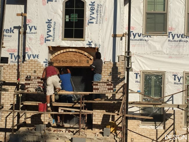 Arched brick opening