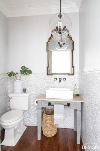 Patterned Hexagon Powder Room