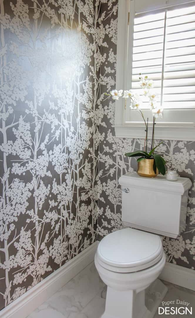 wallpaper in the water closet -