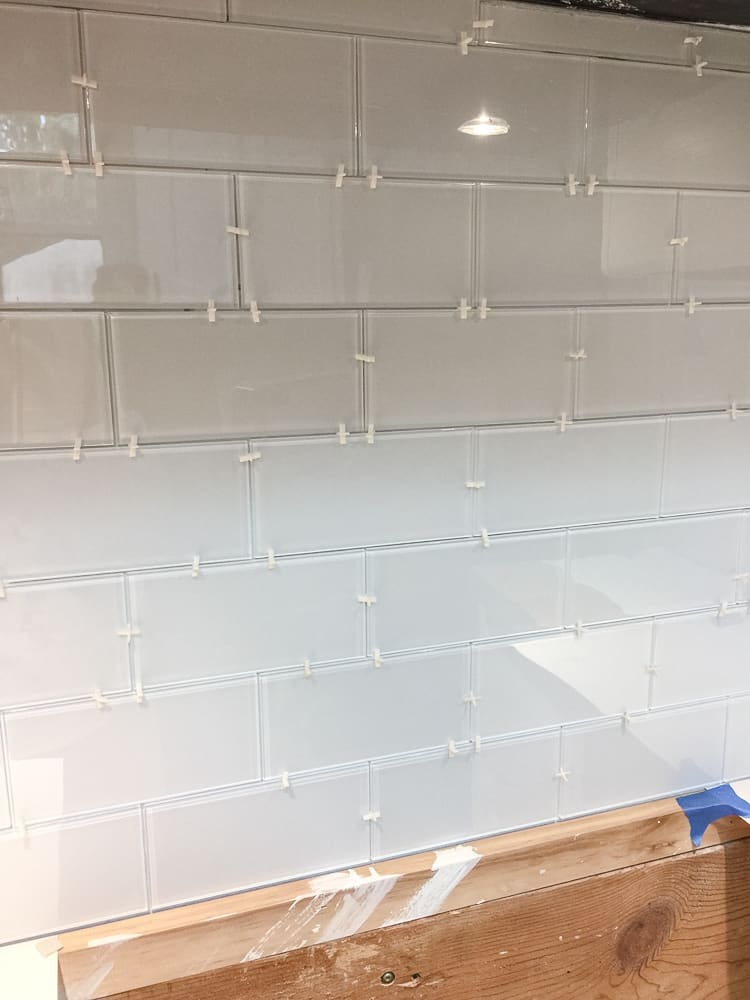 use spacers for peel and stick tile backsplash