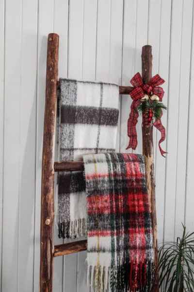 DIY Rustic Blanket Ladder Made from Tree Branches