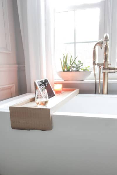 DIY Bathtub Tray with Reclaimed Wood