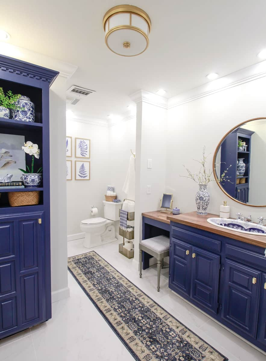 Vintage Sink Inspired Blue and White Bathroom · DeeplySouthernHome