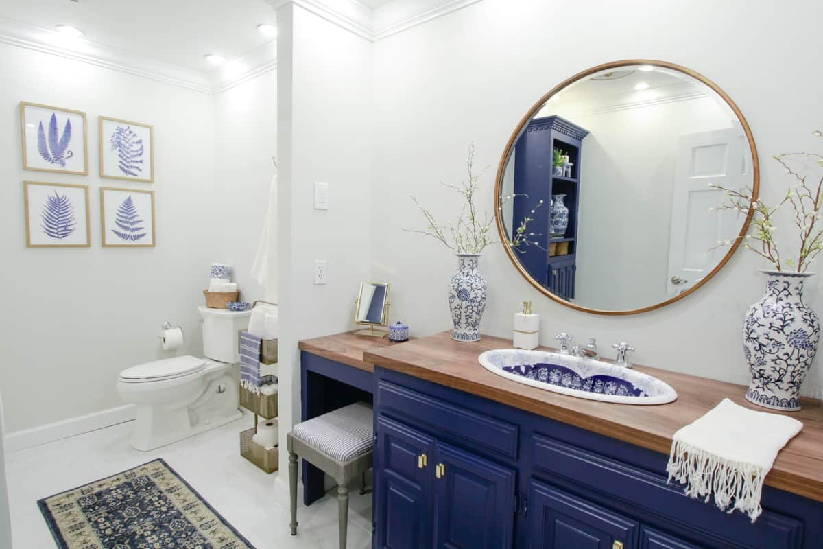 Vintage Sink Inspired Blue And White Bathroom