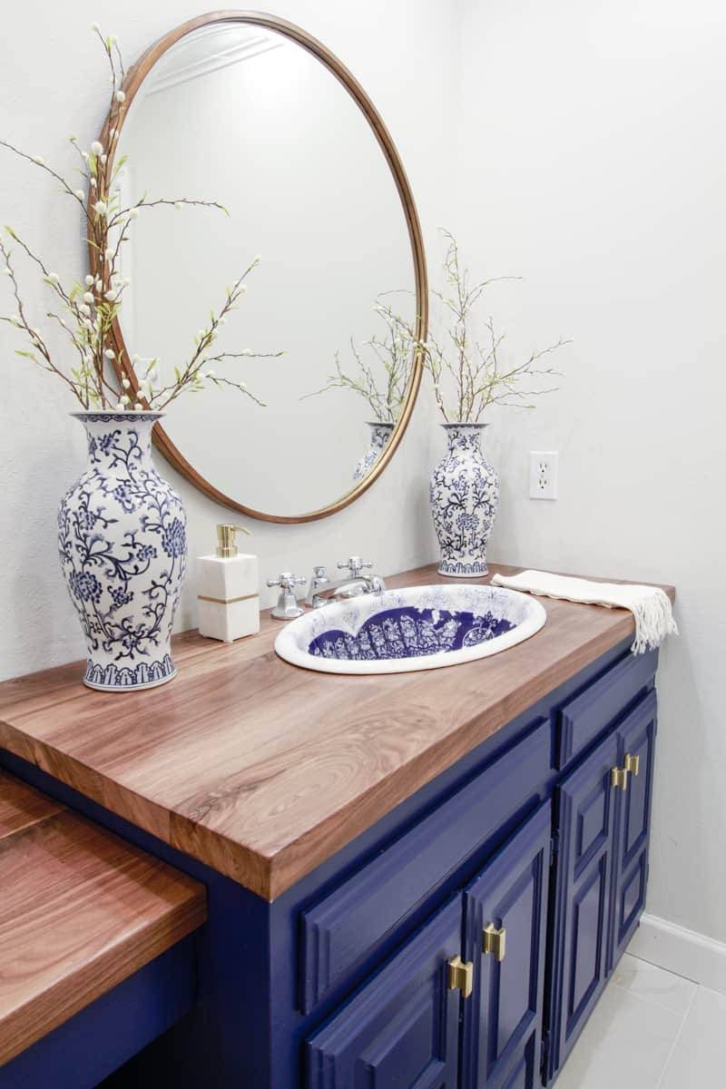 Vintage Sink Inspired Blue And White Bathroom Deeplysouthernhome