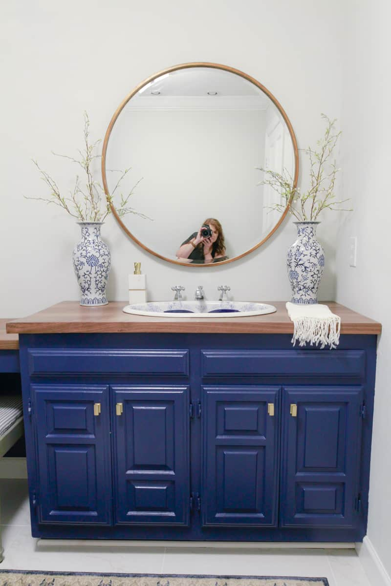 Vintage Sink Inspired Blue and White Bathroom - DeeplySouthernHome