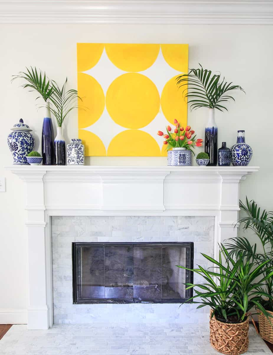 Spring Art and the Blue and White Mantel - DeeplySouthernHome
