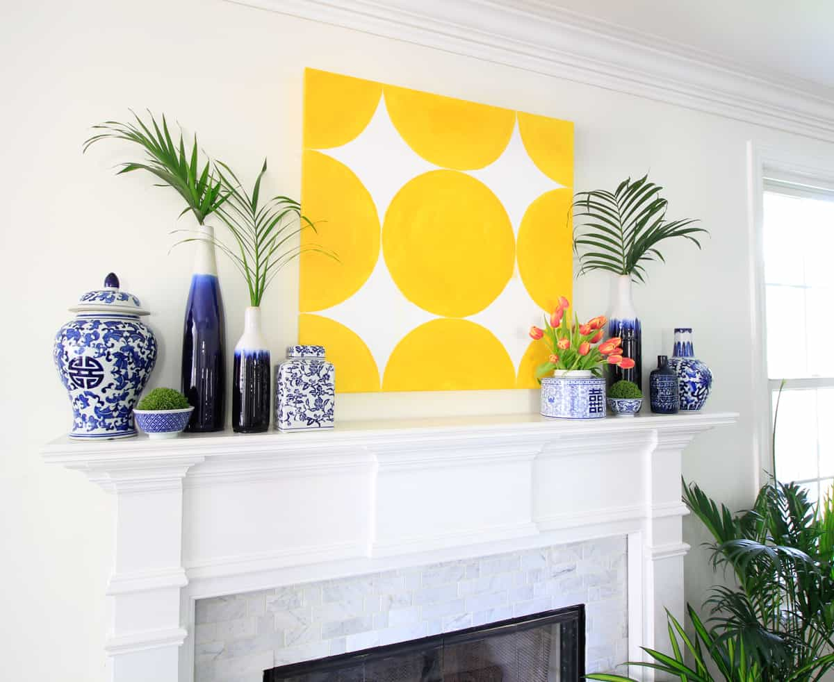 Spring Art and the Blue and White Mantel · DeeplySouthernHome
