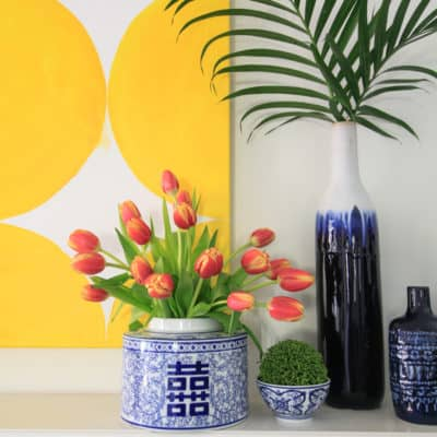 Spring Art and the Blue and White Mantel
