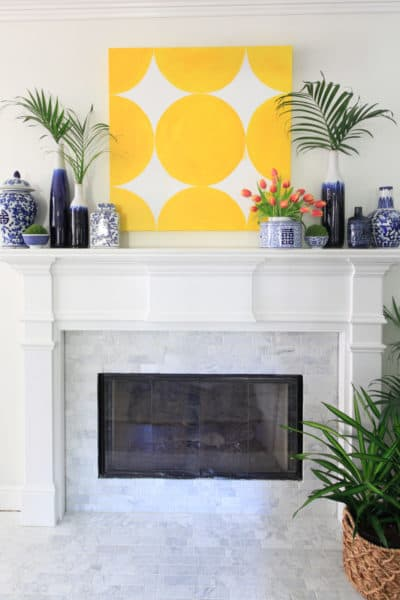 Marble Tile Fireplace Makeover