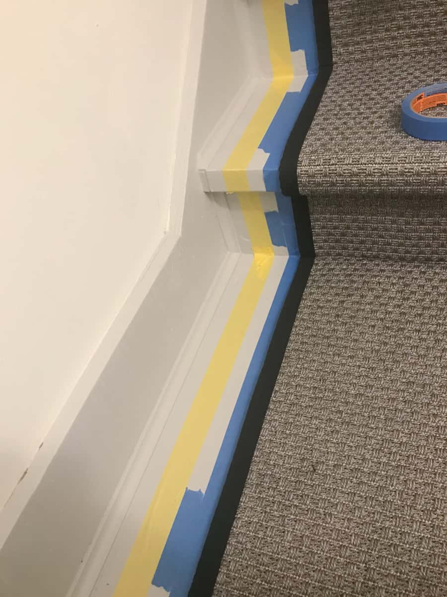the easy way to paint stripe on stairs