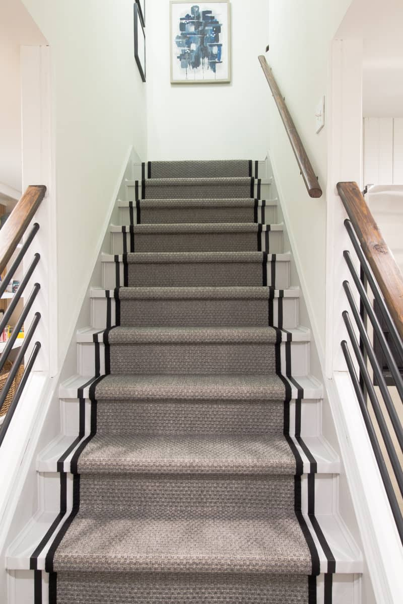 diy painted stairs with stripe
