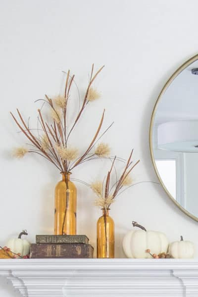 4 Ways to style a Simple Fall Mantle with a Round Mirror