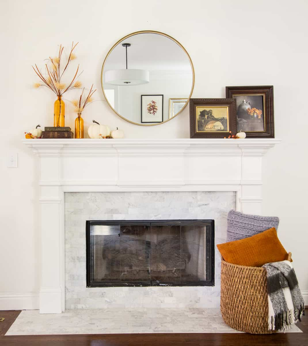 4 Ways To Style A Simple Fall Mantle With A Round Mirror Deeplysouthernhome