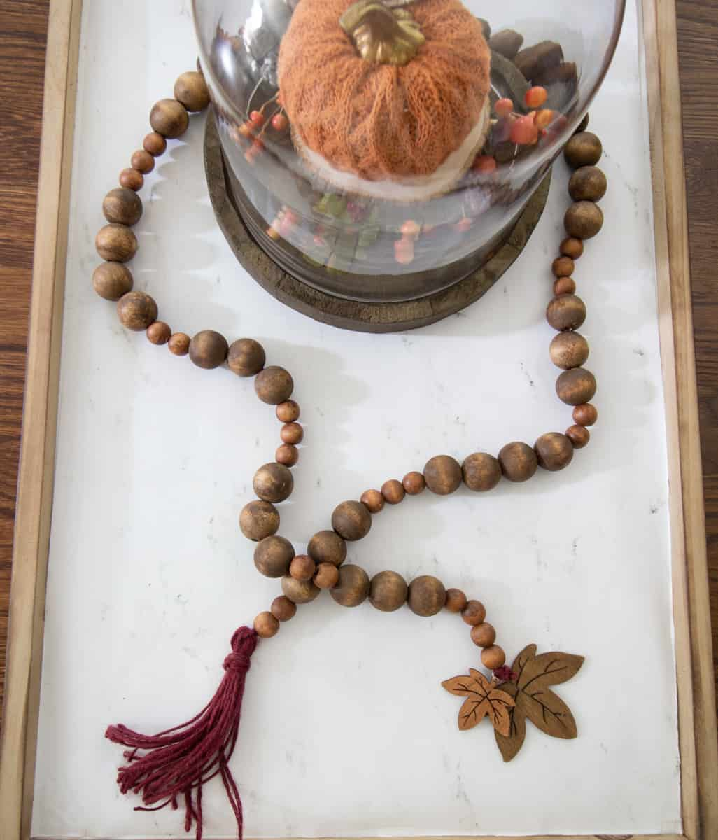 Wood Bead Garland With Fall Leaf Charms Deeplysouthernhome